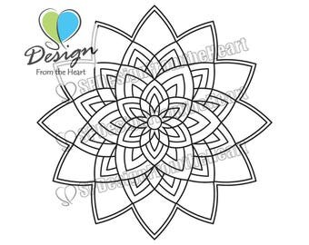 Simple Mandala Coloring Page #4, Printable Adult Coloring Page, Digital Download, Relaxation, Meditation, Peace