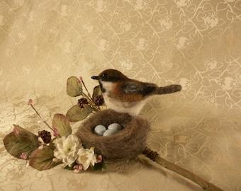 Felted Chickadee Bird
