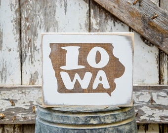 Iowa Wood State Sign   Rustic Decor   Wood Sign   Country Home   Wall Hanging   Farmhouse Decor   Whitewash   Home State Sign