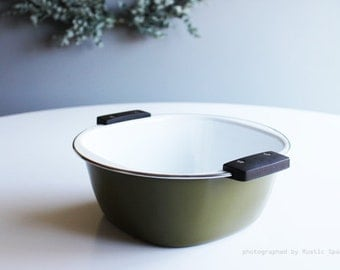 Mid-Century Cathrineholm Olive Green Enamelware
