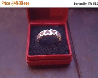 ON SALE Vintage Sterling Silver and Pink Heart Ring
