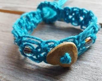 Hemp Macrame Bracelet Turquoise artisan handmade stoneware heart focal metallic seed beads boho retro jewelry
