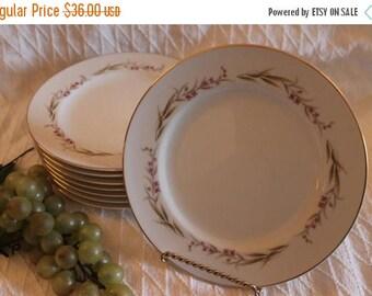 "SALE Set of 8 Prestige Fine China 7.5"" Salad Plates - Cherry Blossom Pattern"