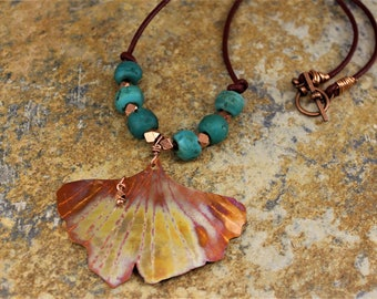 """COPPER GINKGO NECKLACE, 17"""" Leather Cord, 2""""L Ginkgo Pendant, Handmade Turquoise Beads, Great Boho Style, Hand Forged, Spectacular Patina."""