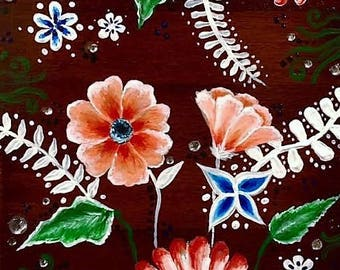 Acrylic Floral Painting on Wood