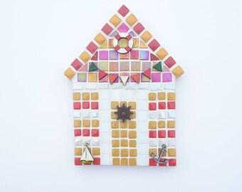 Mosaic beach hut, Yellow & red mosaic beach hut, Mosaic wall art, Wall hanging, Indoor mosaic, Beach hut, Birthday present