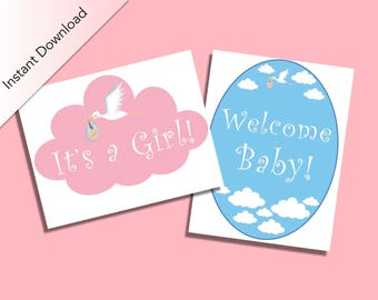 Baby Shower It's a Girl Sign & Welcome Baby Sign, Baby Shower Girl Decoration, Baby Shower Party Favors, Little Girl Party