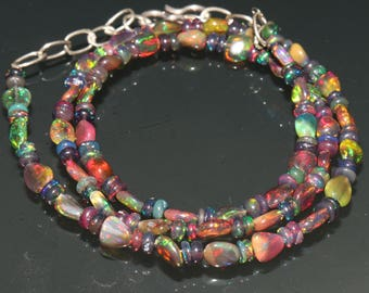 "29 Carats 4.5x5 to 4.5x6 16"" Ethiopian Fire Opal Black Tumble With Roundel Beads Necklace 8011"