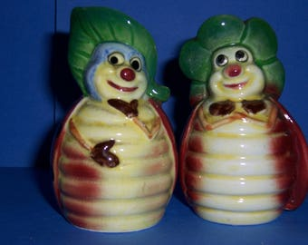 Vintage Anthropomorphic Salt and Pepper Shakers, Ladybug Salt and Pepper Set, 1950's Japan Salt and Pepper