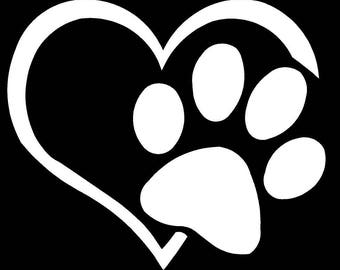 Vinyl Decal Paw Print Heart dog cat love truck country bumper sticker car truck laptop