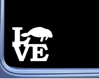Manatee Love L368 6 inch Decal Sticker