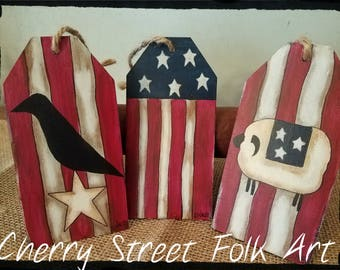 Americana Wood Hang Tags (set of 3)
