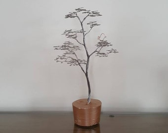 Wire tree sculpture.  Wire art.  Metal Art.  Rose gold. birds.  Gift for her.