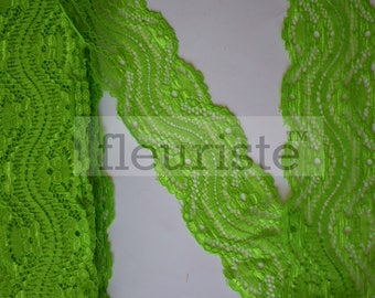 New Elastic Lace, Lace Ribbon Stretch Lace, Elastic Lace Trim, Lace by the yard, Lace Trim, Stretchy Lace Elastic, 2.25 inch, Lime Green