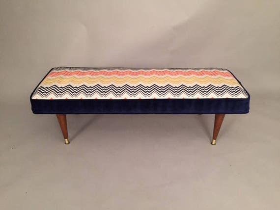 Mid-Century vintage Bench with colorful fabric