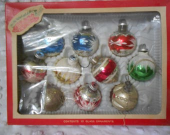 Vintage Liberty Bell Set of 12 Glass Christmas Ornaments - Mix Matched Set - Hand Painted Ball Ornament - Ready to Ship