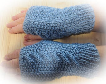 Light blue cable mittens