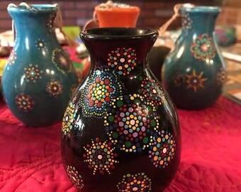 Black Mandala Mini-Vase