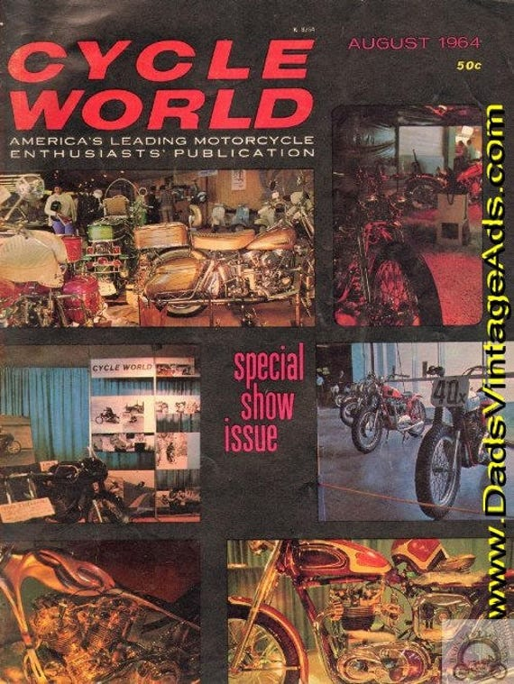 1964 August Cycle World Motorcycle Magazine Back-Issue #6408cw