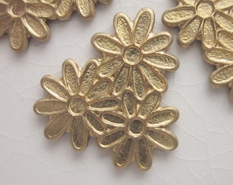 12 Vintage Brass Stampings, Stylized Flower Trio with Scalloped Petal Edges, 15mm