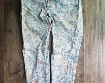 Calvin Klein Floral Print Jeans Made In USA Size 14