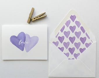 Valentines Day Greeting Card - Purple Watercolor Hearts Love - Purple Love