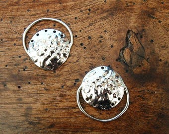 Set of 2 pendants EARRINGS Tibetan silver 30mm shiny