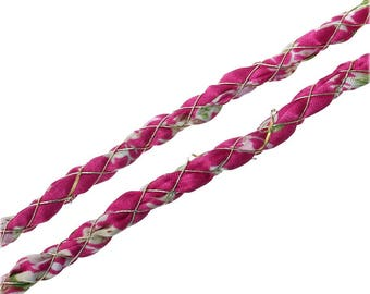 color FUCHSIA/flowers size 5.5 mm silk cord 1 m