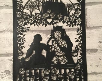 Beauty and the beast, paper cut, fairy tale, hand cut paper cut, beauty, beast, fairy tale paper cut, wall art, childrens decor, gift idea