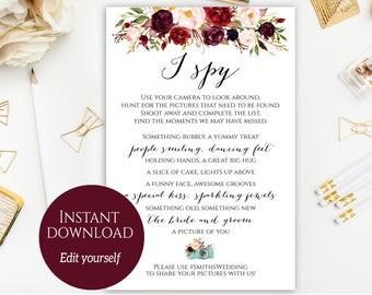 I Spy Wedding Game Photo Hunt Games Activities Marsala