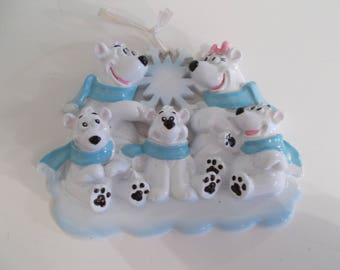 Five family Polar Bear ornament// personalized christmas ornament//family of 5 ornament// christmas ornament//personalized