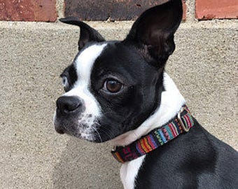 dog collar  Boho Bohemian Aztec Navajo Tribal Southwestern style pet collar Boy dog collar Girl dog collar Pink Blue Black