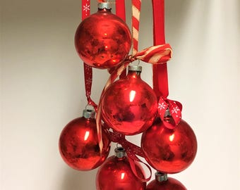 Vintage Holiday Decor SIX RED Shiny Brite Christmas Ornaments Mercury Glass Retro Decor for Christmas Tree