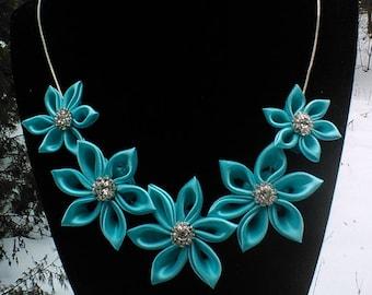 Aqua Blue Kanzashi Necklace