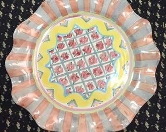MACKENZIE CHILDS Rose Cottage Dinner Plate
