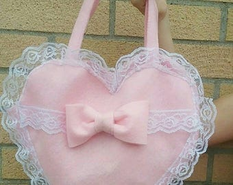 Kawaii Harajuku Lolita Heart Shaped Lace Purse / Bag