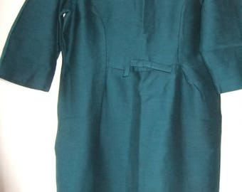 1950s teal blue/green 1950s  wiggle/shift dress 18 Very small 20