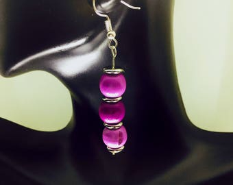 Purple Wooden Bead Earrings