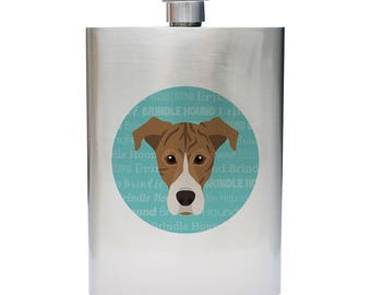 Adorable Brindle Hound Inspired 8oz Stainless Steel Flask