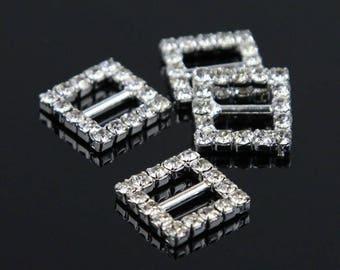 8 square rhinestone earrings