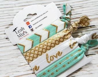 Mint and Gold Hair Ties Set of 4, Gold Hair Ties, Mint with Gold Foil Hair Elastics, Adult Hair Ties, Premium Hair Ties, Gold Arrow Ties