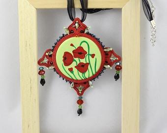 Soutache pendant with handpainted cabochon