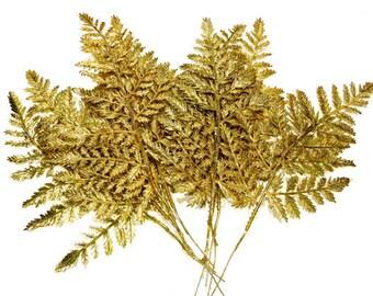 9 LARGE Plastic Gold Leaf Millinery Picks - Pine Leafs - Christmas Picks - Scrapbooking - Embellishments - SKU Tub-603-00006615