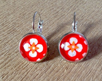 Earrings cabochon red 12 mm