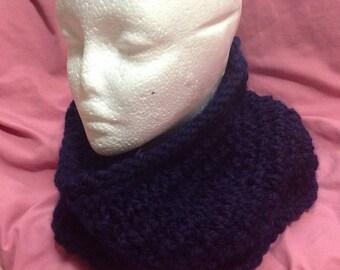 Navy Blue Knit Chunky Dropstitch Cowl - Dark Blue Winter Scarf