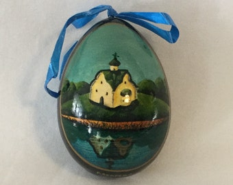 Vintage Kocapeba Russian Waterside Church Scene Composition Easter Egg Ornament