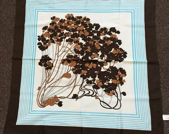 Vintage 1970s Trevira Brown Blue and White floral Bouquet Head Scarf
