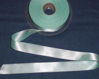 Water green satin ribbon / blue 2.5 cm