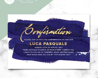 Navy Watercolour Religious Invitation // 120 x 180mm // Change to any Occasion