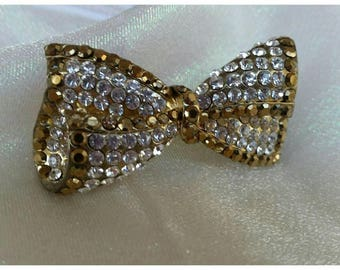 Crystal Bow Barrett in Brown Topaz & Clear Crystals * FREE SHIPPING